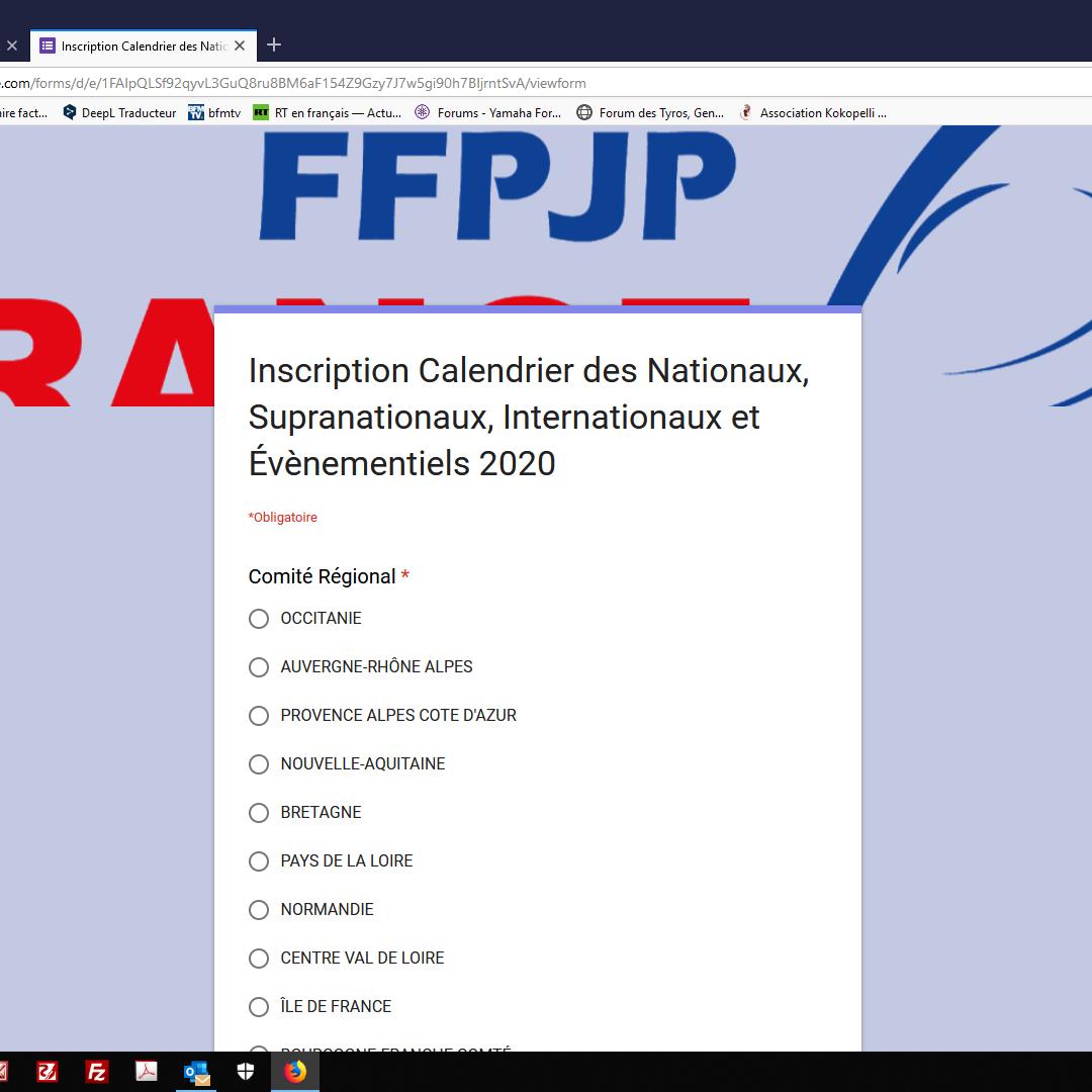 Ffpjp Calendrier 2020.Demande Inscription De Concours Nationaux 2020 Portail De